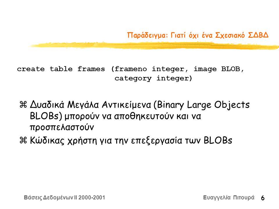 Βάσεις Δεδομένων II 2000-2001 Ευαγγελία Πιτουρά 6 Παράδειγμα: Γιατί όχι ένα Σχεσιακό ΣΔΒΔ zΔυαδικά Μεγάλα Αντικείμενα (Binary Large Objects BLOBs) μπορούν να αποθηκευτούν και να προσπελαστούν zΚώδικας χρήστη για την επεξεργασία των BLOBs create table frames (frameno integer, image BLOB, category integer)