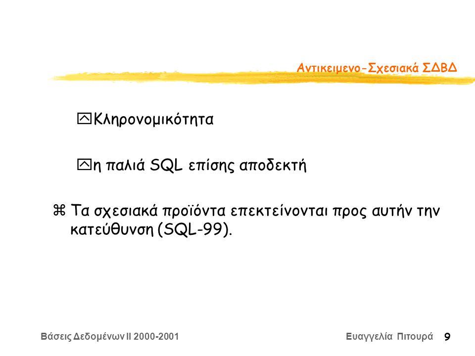 Βάσεις Δεδομένων II 2000-2001 Ευαγγελία Πιτουρά 9 Αντικειμενο-Σχεσιακά ΣΔΒΔ yΚληρονομικότητα yη παλιά SQL επίσης αποδεκτή zΤα σχεσιακά προϊόντα επεκτείνονται προς αυτήν την κατεύθυνση (SQL-99).