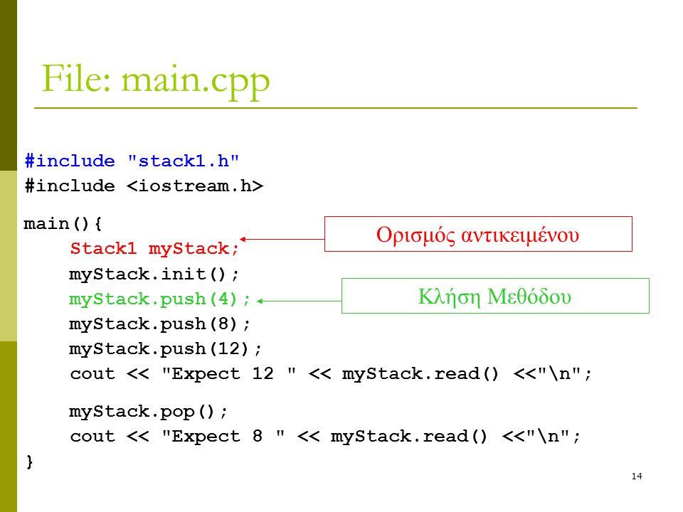 14 File: main.cpp #include stack1.h #include main(){ Stack1 myStack; myStack.init(); myStack.push(4); myStack.push(8); myStack.push(12); cout << Expect 12 << myStack.read() << \n ; myStack.pop(); cout << Expect 8 << myStack.read() << \n ; } Ορισμός αντικειμένουΚλήση Μεθόδου