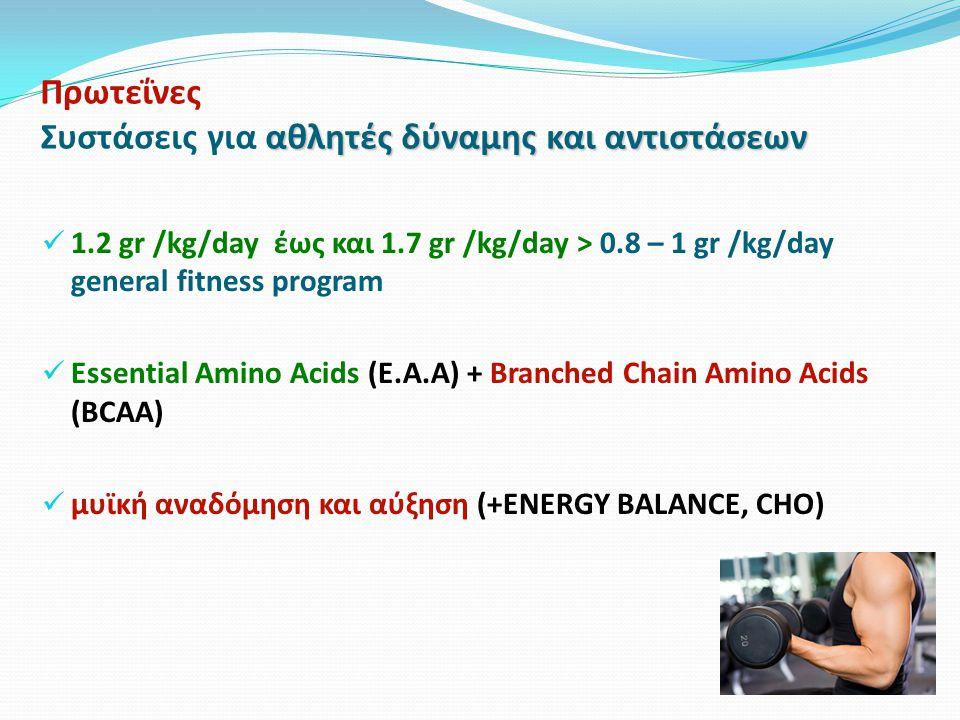 αθλητές δύναμης και αντιστάσεων Πρωτεΐνες Συστάσεις για αθλητές δύναμης και αντιστάσεων 1.2 gr /kg/day έως και 1.7 gr /kg/day > 0.8 – 1 gr /kg/day general fitness program Essential Amino Acids (E.A.A) + Branched Chain Amino Acids (BCAA) μυϊκή αναδόμηση και αύξηση (+ENERGY BALANCE, CHO)