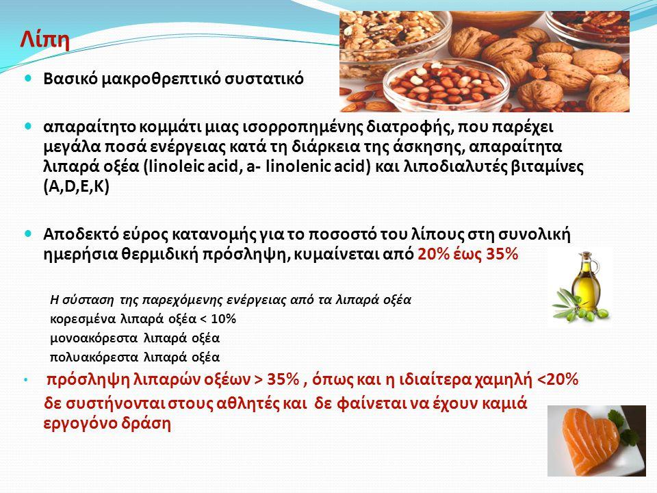 Λίπη Βασικό μακροθρεπτικό συστατικό απαραίτητο κομμάτι μιας ισορροπημένης διατροφής, που παρέχει μεγάλα ποσά ενέργειας κατά τη διάρκεια της άσκησης, απαραίτητα λιπαρά οξέα (linoleic acid, a- linolenic acid) και λιποδιαλυτές βιταμίνες (Α,D,Ε,Κ) Αποδεκτό εύρος κατανομής για το ποσοστό του λίπους στη συνολική ημερήσια θερμιδική πρόσληψη, κυμαίνεται από 20% έως 35% Η σύσταση της παρεχόμενης ενέργειας από τα λιπαρά οξέα κορεσμένα λιπαρά οξέα < 10% μονοακόρεστα λιπαρά οξέα πολυακόρεστα λιπαρά οξέα πρόσληψη λιπαρών οξέων > 35%, όπως και η ιδιαίτερα χαμηλή <20% δε συστήνονται στους αθλητές και δε φαίνεται να έχουν καμιά εργογόνο δράση