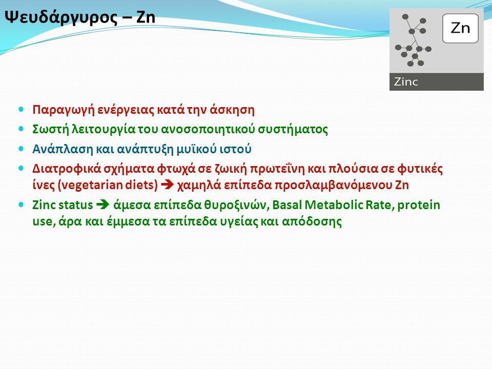 Ψευδάργυρος – Zn Παραγωγή ενέργειας κατά την άσκηση Σωστή λειτουργία του ανοσοποιητικού συστήματος Ανάπλαση και ανάπτυξη μυϊκού ιστού Διατροφικά σχήματα φτωχά σε ζωική πρωτεΐνη και πλούσια σε φυτικές ίνες (vegetarian diets)  χαμηλά επίπεδα προσλαμβανόμενου Zn Zinc status  άμεσα επίπεδα θυροξινών, Basal Metabolic Rate, protein use, άρα και έμμεσα τα επίπεδα υγείας και απόδοσης