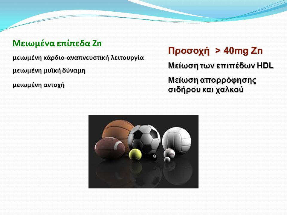 Μειωμένα επίπεδα Zn μειωμένη κάρδιο-αναπνευστική λειτουργία μειωμένη μυϊκή δύναμη μειωμένη αντοχή Προσοχή > 40mg Zn Μείωση των επιπέδων HDL Μείωση απορρόφησης σιδήρου και χαλκού