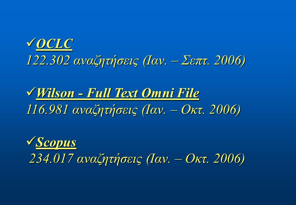 OCLC OCLC 122.302 αναζητήσεις (Ιαν. – Σεπτ.
