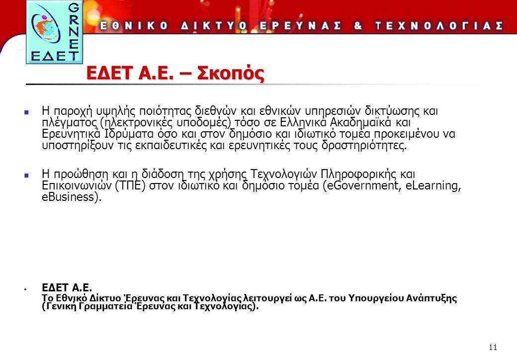 11 ΕΔΕΤ Α.Ε. – Σκοπός Η παροχή υψηλής ποιότητας διεθνών και εθνικών υπηρεσιών δικτύωσης και πλέγματος (ηλεκτρονικές υποδομές) τόσο σε Ελληνικά Ακαδημα