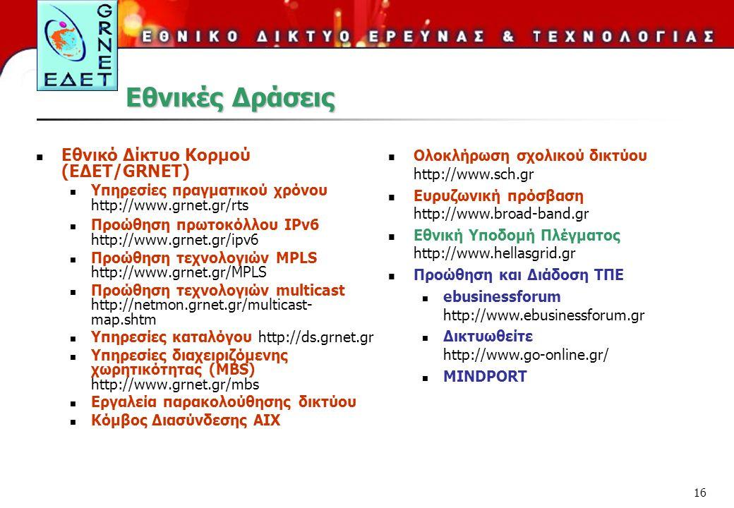 16 Εθνικές Δράσεις Εθνικό Δίκτυο Κορμού (ΕΔΕΤ/GRNET) Υπηρεσίες πραγματικού χρόνου http://www.grnet.gr/rts Προώθηση πρωτοκόλλου IPv6 http://www.grnet.gr/ipv6 Προώθηση τεχνολογιών MPLS http://www.grnet.gr/MPLS Προώθηση τεχνολογιών multicast http://netmon.grnet.gr/multicast- map.shtm Υπηρεσίες καταλόγου http://ds.grnet.gr Υπηρεσίες διαχειριζόμενης χωρητικότητας (MBS) http://www.grnet.gr/mbs Εργαλεία παρακολούθησης δικτύου Κόμβος Διασύνδεσης ΑΙΧ Ολοκλήρωση σχολικού δικτύου http://www.sch.gr Ευρυζωνική πρόσβαση http://www.broad-band.gr Εθνική Υποδομή Πλέγματος http://www.hellasgrid.gr Προώθηση και Διάδοση ΤΠΕ ebusinessforum http://www.ebusinessforum.gr Δικτυωθείτε http://www.go-online.gr/ MINDPORT