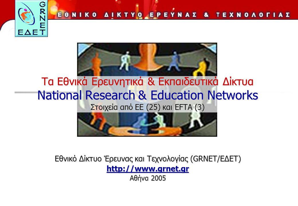 Tα Εθνικά Ερευνητικά & Εκπαιδευτικά Δίκτυα National Research & Education Networks Στοιχεία από ΕΕ (25) και EFTA (3) Εθνικό Δίκτυο Έρευνας και Τεχνολογίας (GRNET/ΕΔΕΤ) http://www.grnet.gr Αθήνα 2005