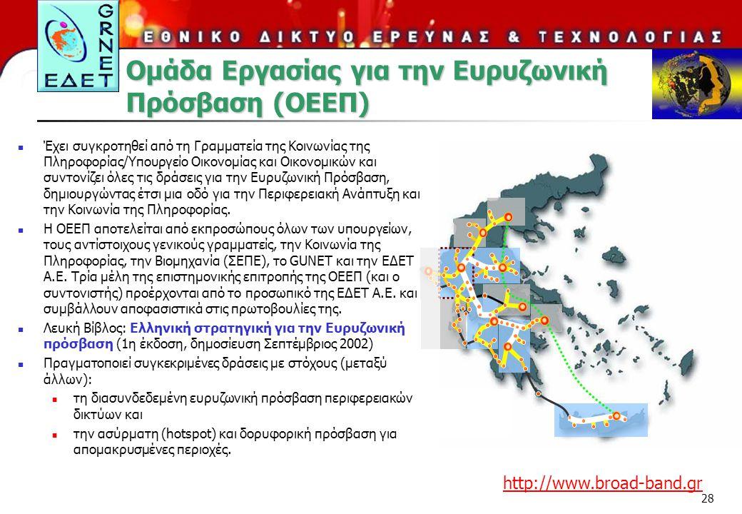 28 Ομάδα Εργασίας για την Ευρυζωνική Πρόσβαση (ΟΕΕΠ) Έχει συγκροτηθεί από τη Γραμματεία της Κοινωνίας της Πληροφορίας/Υπουργείο Οικονομίας και Οικονομ