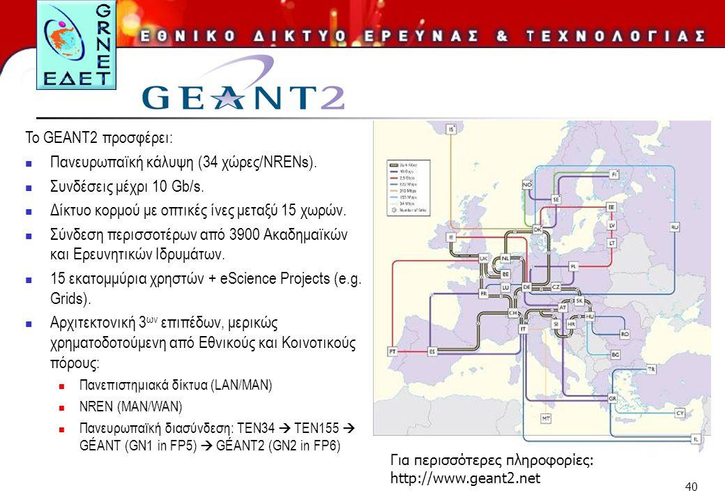 40 To GEANT2 προσφέρει: Πανευρωπαϊκή κάλυψη (34 χώρες/NRENs). Συνδέσεις μέχρι 10 Gb/s. Δίκτυο κορμού με οπτικές ίνες μεταξύ 15 χωρών. Σύνδεση περισσοτ
