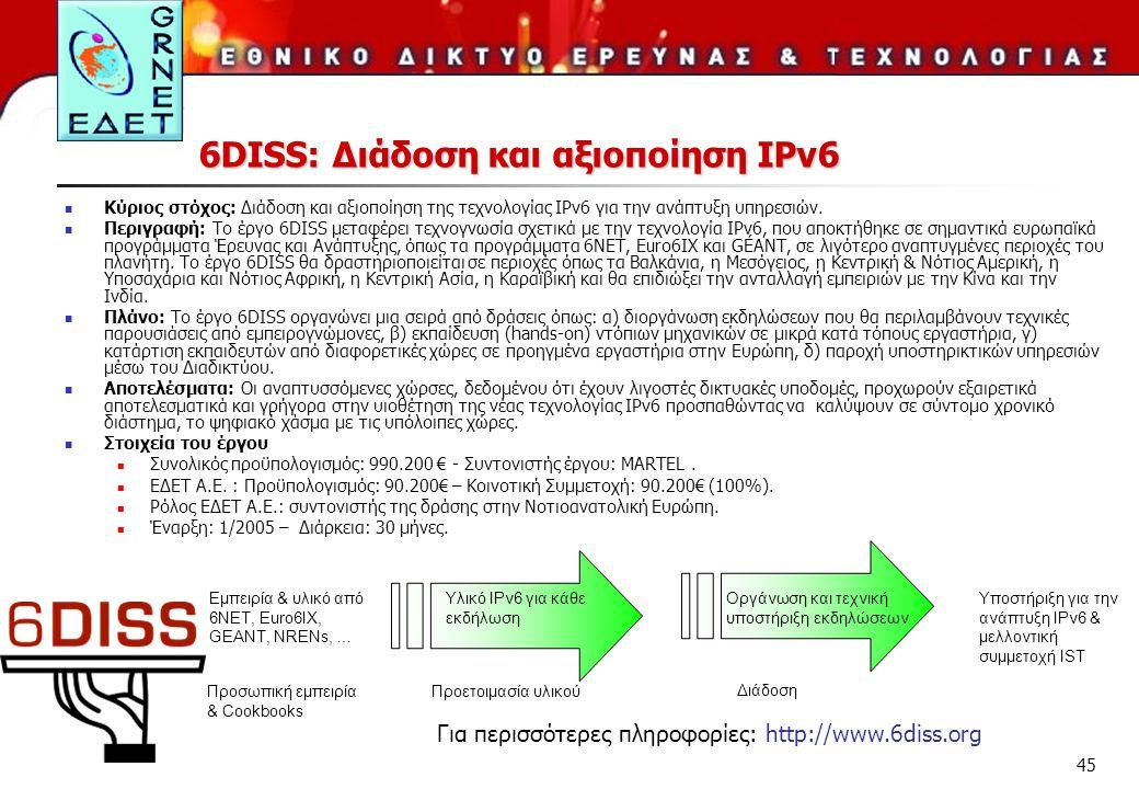 45 6DISS: Διάδοση και αξιοποίηση IPv6 Κύριος στόχος: Διάδοση και αξιοποίηση της τεχνολογίας IPv6 για την ανάπτυξη υπηρεσιών. Περιγραφή: Το έργο 6DISS