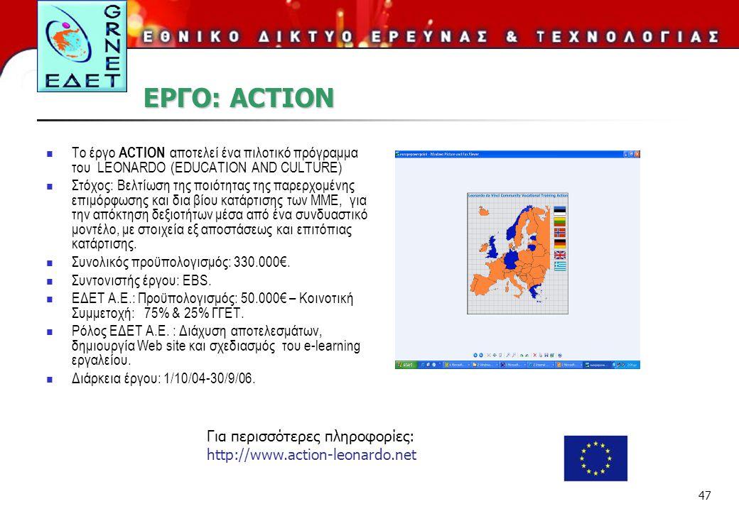 47 ΕΡΓΟ: ACTION Το έργο ACTION αποτελεί ένα πιλοτικό πρόγραμμα του LEONARDO (EDUCATION AND CULTURE) Στόχος: Βελτίωση της ποιότητας της παρερχομένης επιμόρφωσης και δια βίου κατάρτισης των ΜΜΕ, για την απόκτηση δεξιοτήτων μέσα από ένα συνδυαστικό μοντέλο, με στοιχεία εξ αποστάσεως και επιτόπιας κατάρτισης.