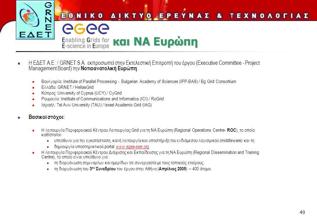 49 Η ΕΔΕΤ Α.Ε. / GRNET S.A. εκπροσωπεί στην Εκτελεστική Επιτροπή του έργου (Executive Committee - Project Management Board) την Νοτιοανατολική Ευρώπη