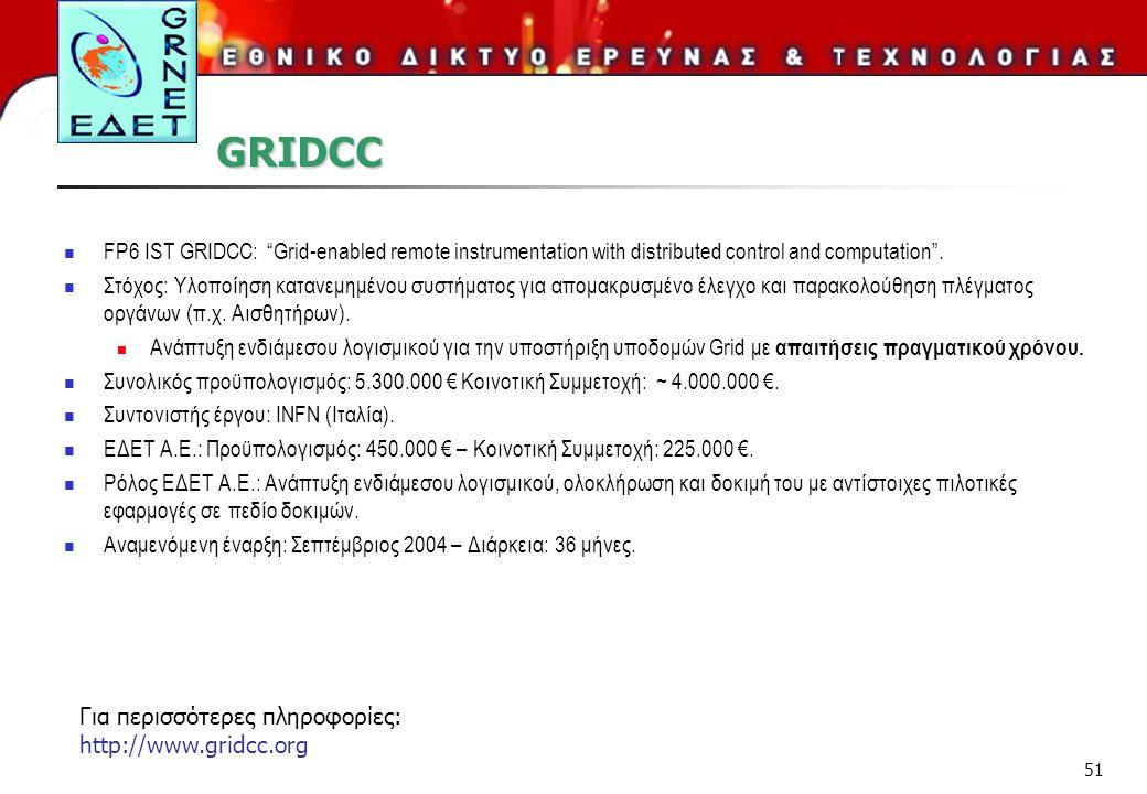 "51 GRIDCC FP6 IST GRIDCC: ""Grid-enabled remote instrumentation with distributed control and computation"". Στόχος: Υλοποίηση κατανεμημένου συστήματος γ"