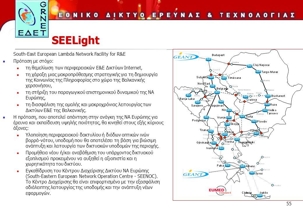 55 SEELight South-East European Lambda Network Facility for R&E Πρόταση με στόχο: τη θεμελίωση των περιφερειακών Ε&Ε Δικτύων Internet, τη χάραξη μιας