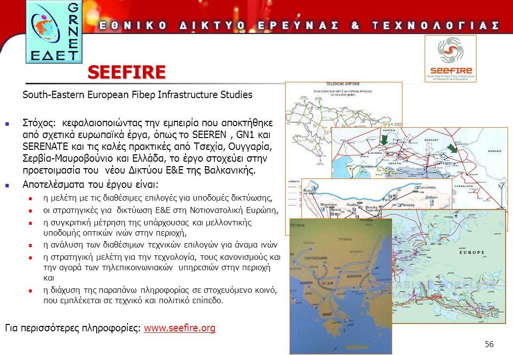 56 SEEFIRE South-Eastern European Fibeρ Infrastructure Studies Στόχος: κεφαλαιοποιώντας την εμπειρία που αποκτήθηκε από σχετικά ευρωπαϊκά έργα, όπως τ