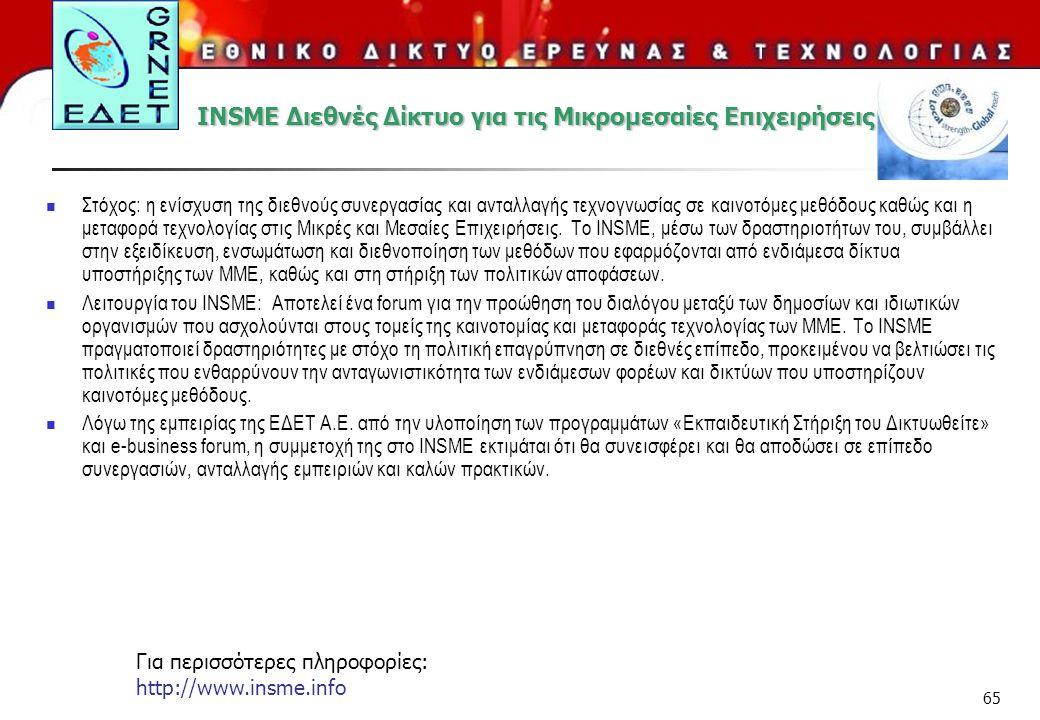 65 INSME Διεθνές Δίκτυο για τις Μικρομεσαίες Επιχειρήσεις Στόχος: η ενίσχυση της διεθνούς συνεργασίας και ανταλλαγής τεχνογνωσίας σε καινοτόμες μεθόδο