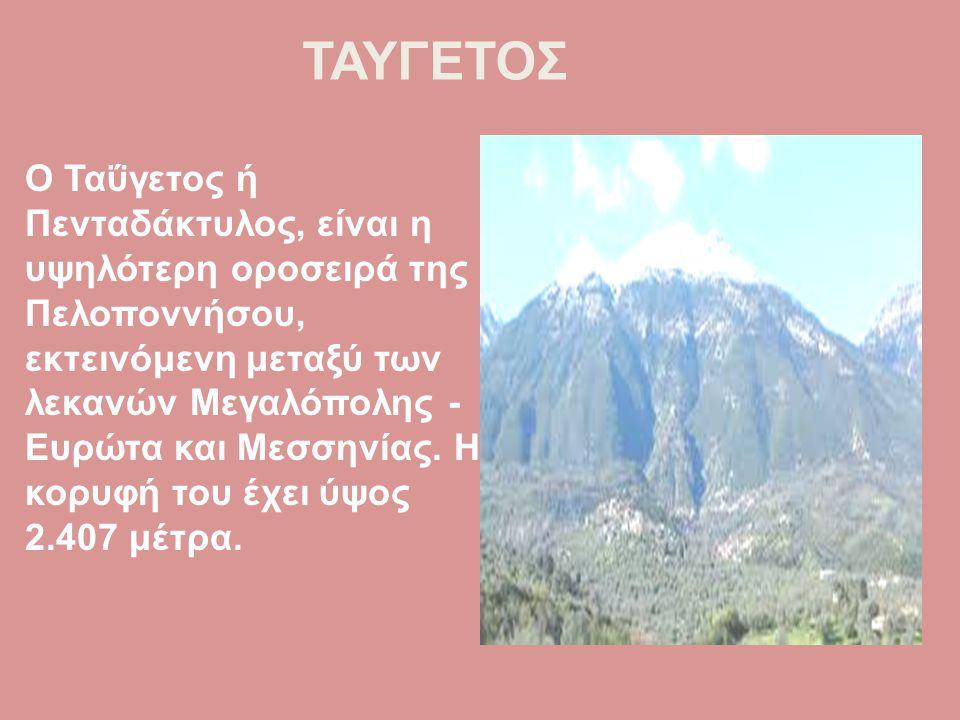 ΤΑΥΓΕΤΟΣ Ο Ταΰγετος ή Πενταδάκτυλος, είναι η υψηλότερη οροσειρά της Πελοποννήσου, εκτεινόμενη μεταξύ των λεκανών Μεγαλόπολης - Ευρώτα και Μεσσηνίας. Η