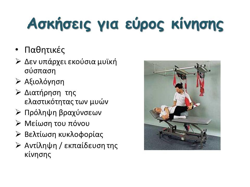 Ασκήσεις για εύρος κίνησης Παθητικές  Δεν υπάρχει εκούσια μυϊκή σύσπαση  Αξιολόγηση  Διατήρηση της ελαστικότητας των μυών  Πρόληψη βραχύνσεων  Με