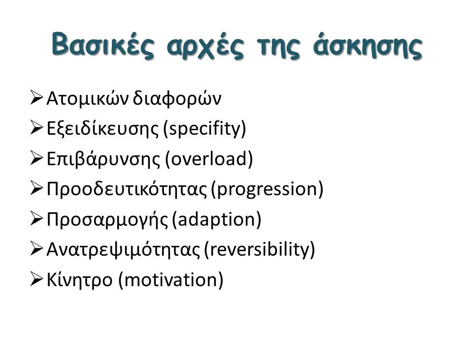 Βασικές αρχές της άσκησης  Ατομικών διαφορών  Εξειδίκευσης (specifity)  Επιβάρυνσης (overload)  Προοδευτικότητας (progression)  Προσαρμογής (adap