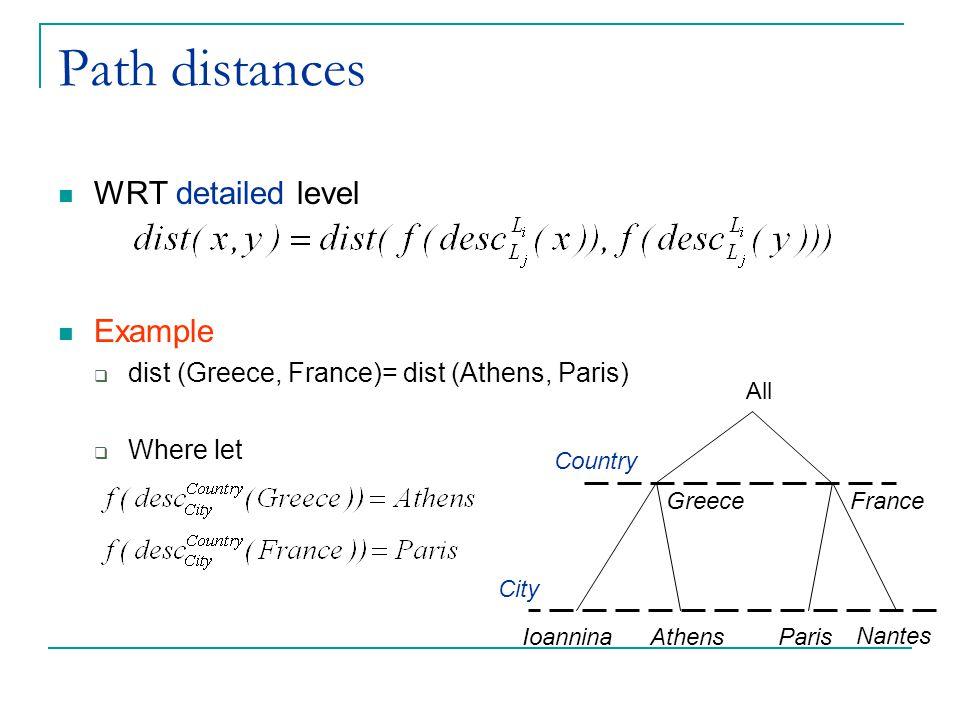 Path distances WRT detailed level Example  dist (Greece, France)= dist (Athens, Paris)  Where let All City AthensIoanninaParis Nantes Country Greece