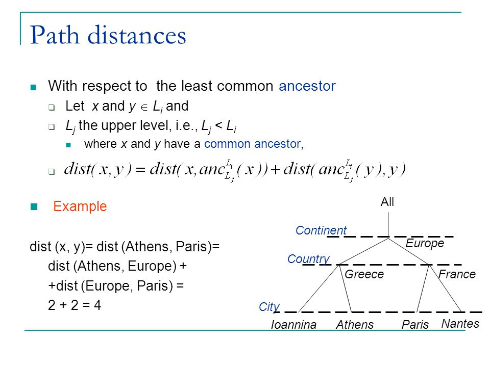 Path distances With respect to the least common ancestor  Let x and y  L i and  L j the upper level, i.e., L j < L i where x and y have a common an
