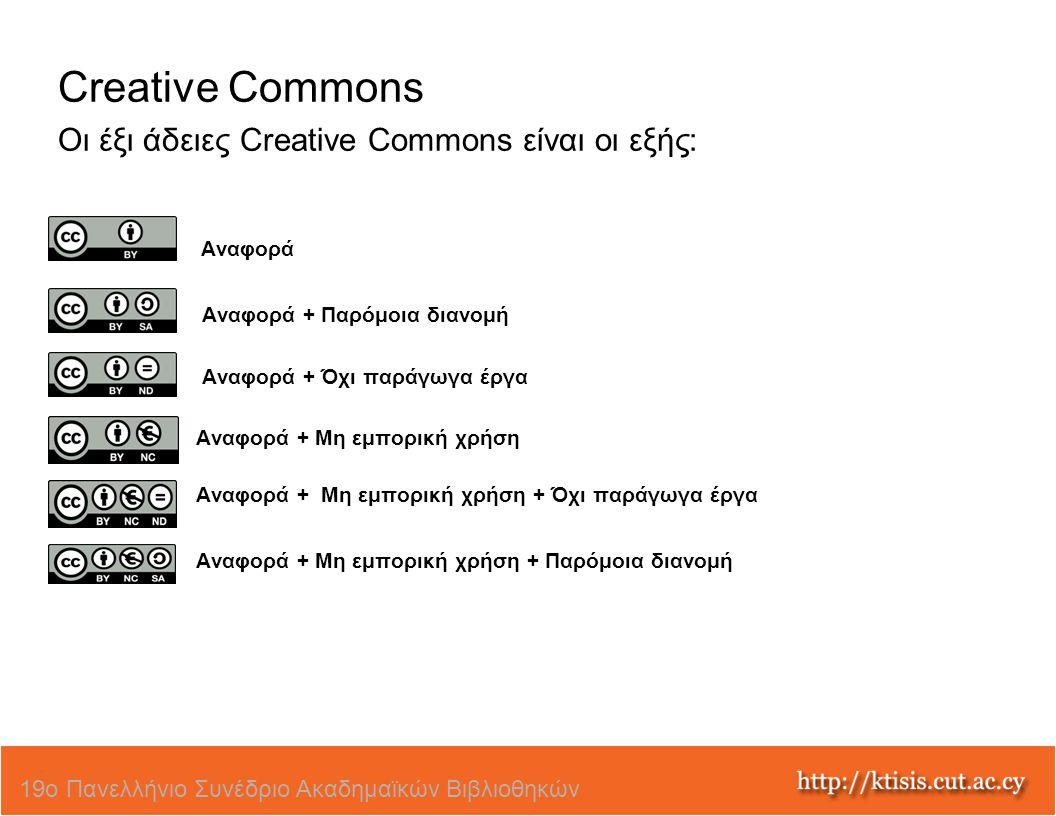 Creative Commons Οι έξι άδειες Creative Commons είναι οι εξής: Αναφορά Αναφορά + Παρόμοια διανομή Αναφορά + Όχι παράγωγα έργα Αναφορά + Μη εμπορική χρ