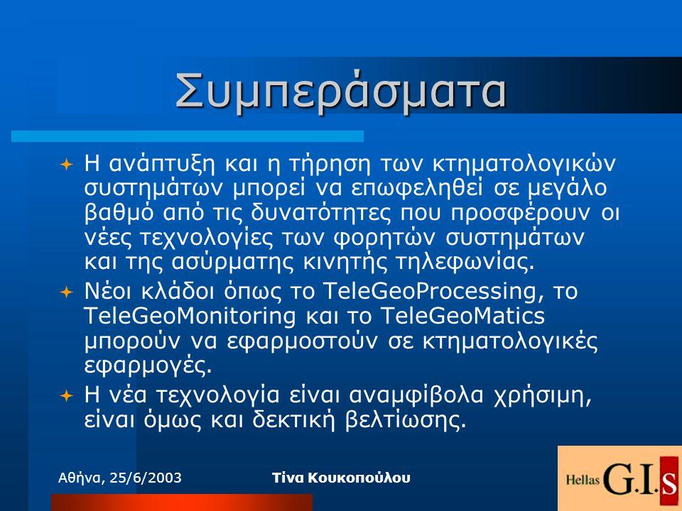 Αθήνα, 25/6/2003Τίνα Κουκοπούλου Συμπεράσματα  Η ανάπτυξη και η τήρηση των κτηματολογικών συστημάτων μπορεί να επωφεληθεί σε μεγάλο βαθμό από τις δυν