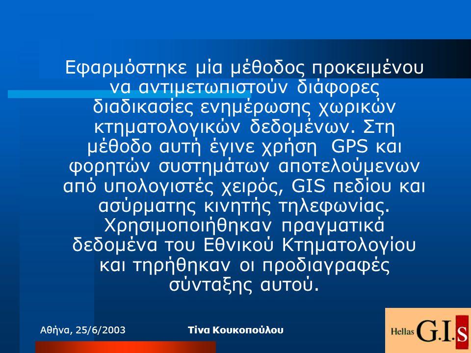Αθήνα, 25/6/2003Τίνα Κουκοπούλου Εφαρμόστηκε μία μέθοδος προκειμένου να αντιμετωπιστούν διάφορες διαδικασίες ενημέρωσης χωρικών κτηματολογικών δεδομέν