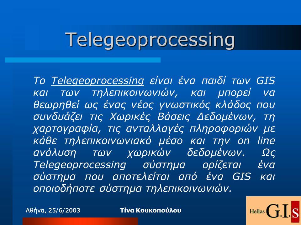 Αθήνα, 25/6/2003Τίνα Κουκοπούλου Telegeoprocessing Το Telegeoprocessing είναι ένα παιδί των GIS και των τηλεπικοινωνιών, και μπορεί να θεωρηθεί ως ένα