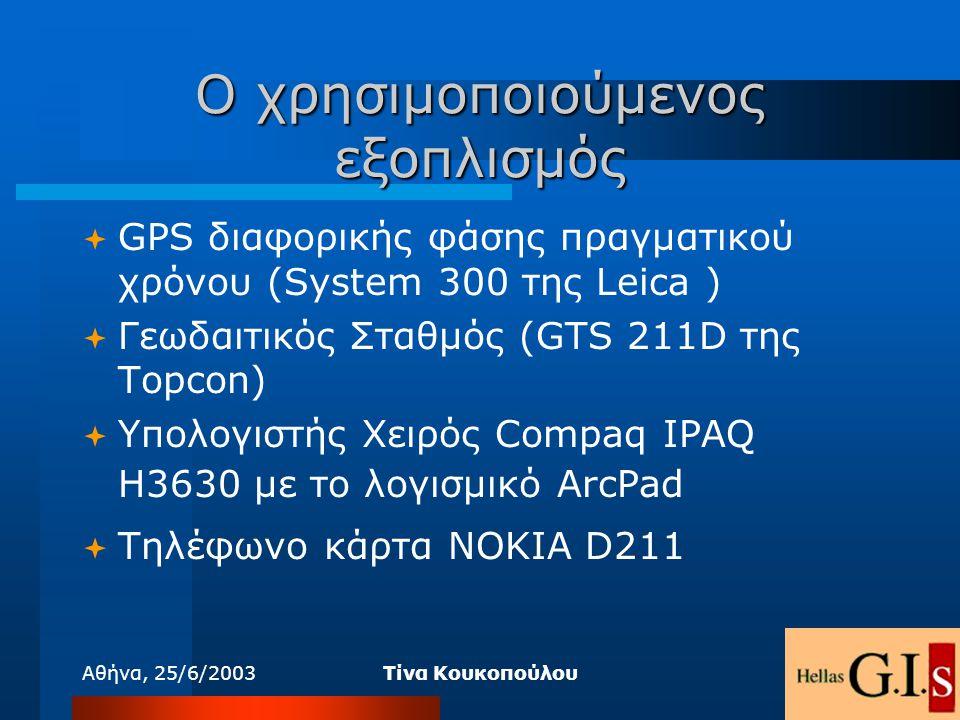 Αθήνα, 25/6/2003Τίνα Κουκοπούλου Ο χρησιμοποιούμενος εξοπλισμός  GPS διαφορικής φάσης πραγματικού χρόνου (System 300 της Leica )  Γεωδαιτικός Σταθμό