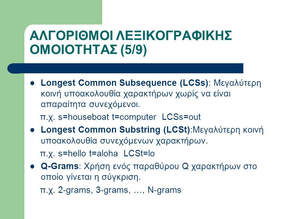 ΑΛΓΟΡΙΘΜΟΙ ΛΕΞΙΚΟΓΡΑΦΙΚΗΣ ΟΜΟΙΟΤΗΤΑΣ (5/9) Longest Common Subsequence (LCSs): Μεγαλύτερη κοινή υποακολουθία χαρακτήρων χωρίς να είναι απαραίτητα συνεχόμενοι.