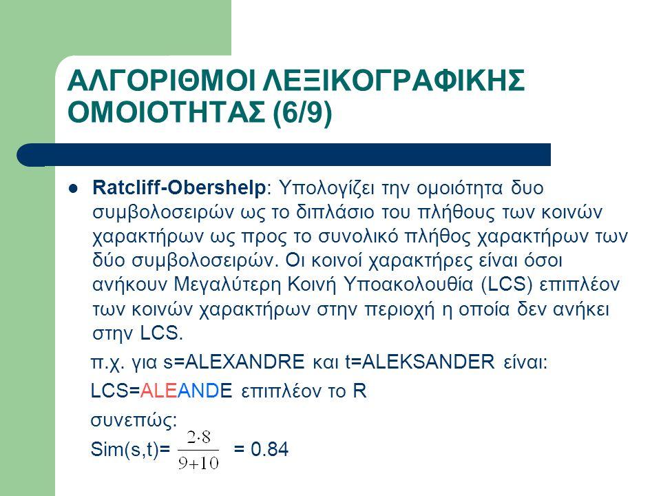 ΑΛΓΟΡΙΘΜΟΙ ΛΕΞΙΚΟΓΡΑΦΙΚΗΣ ΟΜΟΙΟΤΗΤΑΣ (6/9) Ratcliff-Obershelp: Υπολογίζει την ομοιότητα δυο συμβολοσειρών ως το διπλάσιο του πλήθους των κοινών χαρακτήρων ως προς το συνολικό πλήθος χαρακτήρων των δύο συμβολοσειρών.