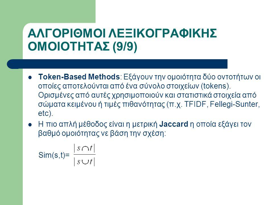ΑΛΓΟΡΙΘΜΟΙ ΛΕΞΙΚΟΓΡΑΦΙΚΗΣ ΟΜΟΙΟΤΗΤΑΣ (9/9) Token-Based Methods: Εξάγουν την ομοιότητα δύο οντοτήτων οι οποίες αποτελούνται από ένα σύνολο στοιχείων (tokens).