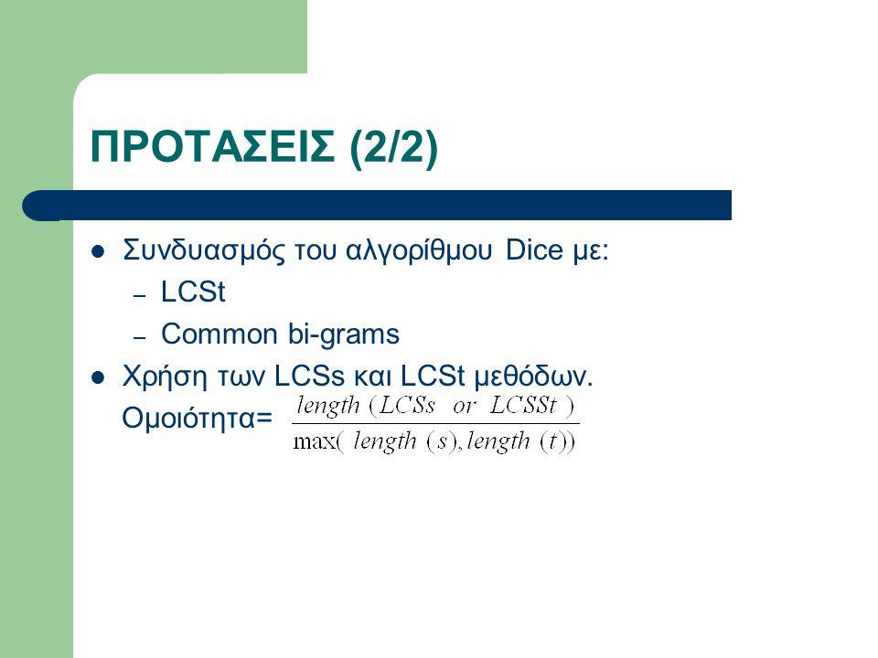 ΠΡΟΤΑΣΕΙΣ (2/2) Συνδυασμός του αλγορίθμου Dice με: – LCSt – Common bi-grams Χρήση των LCSs και LCSt μεθόδων.