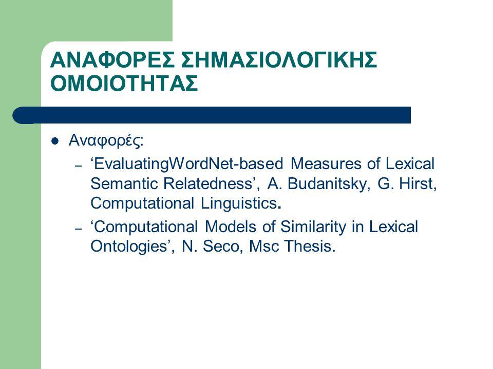 ΑΝΑΦΟΡΕΣ ΣΗΜΑΣΙΟΛΟΓΙΚΗΣ ΟΜΟΙΟΤΗΤΑΣ Αναφορές: – 'EvaluatingWordNet-based Measures of Lexical Semantic Relatedness', A.