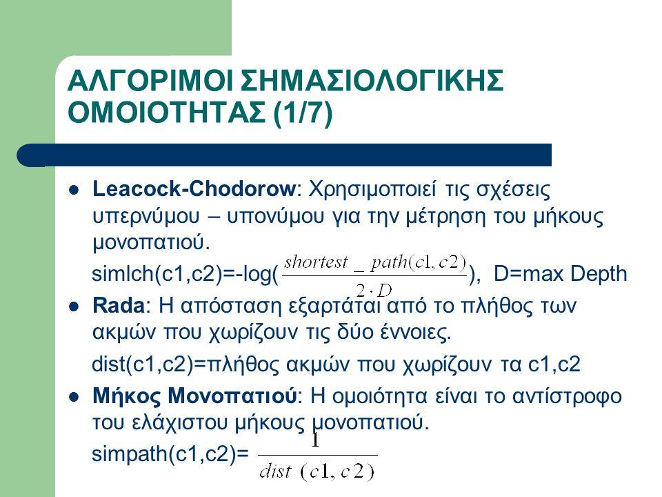 ΑΛΓΟΡΙΜΟΙ ΣΗΜΑΣΙΟΛΟΓΙΚΗΣ ΟΜΟΙΟΤΗΤΑΣ (1/7) Leacock-Chodorow: Χρησιμοποιεί τις σχέσεις υπερνύμου – υπονύμου για την μέτρηση του μήκους μονοπατιού.