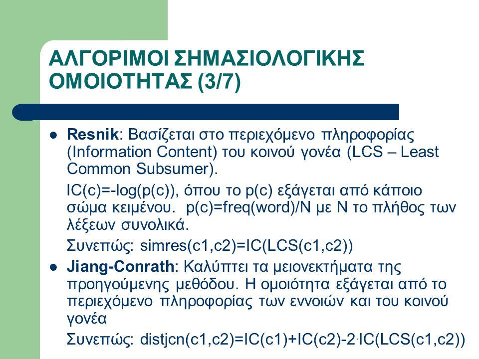 ΑΛΓΟΡΙΜΟΙ ΣΗΜΑΣΙΟΛΟΓΙΚΗΣ ΟΜΟΙΟΤΗΤΑΣ (3/7) Resnik: Βασίζεται στο περιεχόμενο πληροφορίας (Information Content) του κοινού γονέα (LCS – Least Common Subsumer).