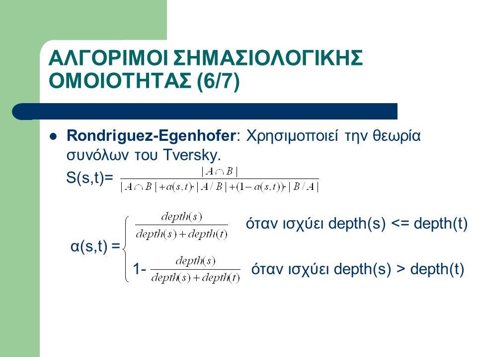 ΑΛΓΟΡΙΜΟΙ ΣΗΜΑΣΙΟΛΟΓΙΚΗΣ ΟΜΟΙΟΤΗΤΑΣ (6/7) Rondriguez-Egenhofer: Χρησιμοποιεί την θεωρία συνόλων του Tversky.
