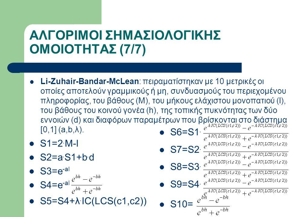 ΑΛΓΟΡΙΜΟΙ ΣΗΜΑΣΙΟΛΟΓΙΚΗΣ ΟΜΟΙΟΤΗΤΑΣ (7/7) Li-Zuhair-Bandar-McLean: πειραματίστηκαν με 10 μετρικές οι οποίες αποτελούν γραμμικούς ή μη, συνδυασμούς του περιεχομένου πληροφορίας, του βάθους (Μ), του μήκους ελάχιστου μονοπατιού (l), του βάθους του κοινού γονέα (h), της τοπικής πυκνότητας των δύο εννοιών (d) και διαφόρων παραμέτρων που βρίσκονται στο διάστημα [0,1] (a,b,λ).