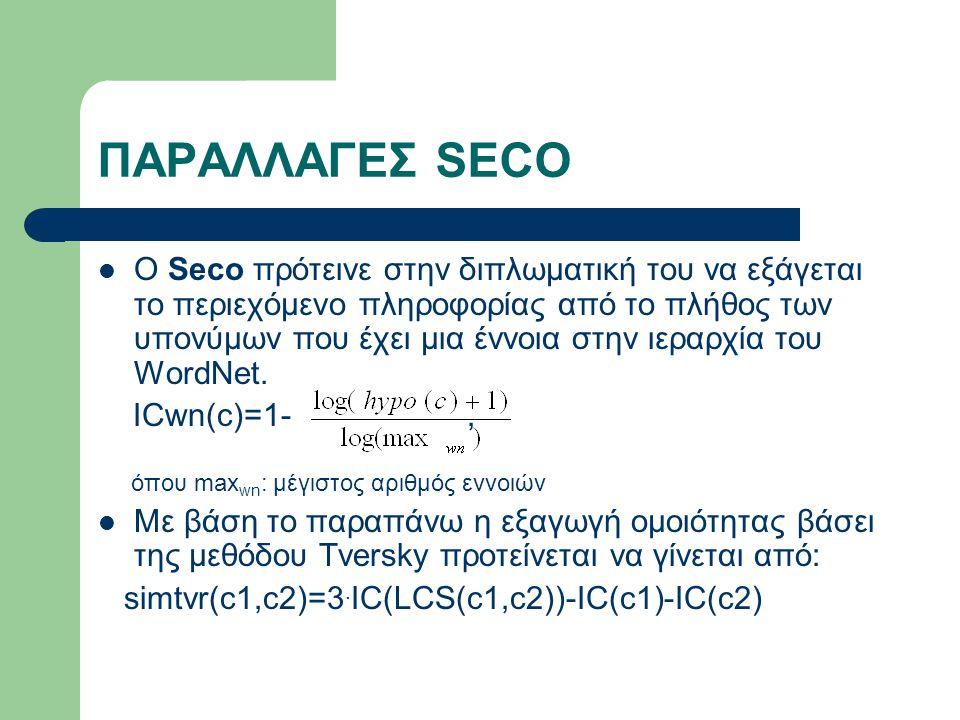 ΠΑΡΑΛΛΑΓΕΣ SECO Ο Seco πρότεινε στην διπλωματική του να εξάγεται το περιεχόμενο πληροφορίας από το πλήθος των υπονύμων που έχει μια έννοια στην ιεραρχία του WordNet.