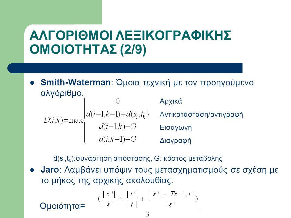 ΑΛΓΟΡΙΘΜΟΙ ΛΕΞΙΚΟΓΡΑΦΙΚΗΣ ΟΜΟΙΟΤΗΤΑΣ (3/9) Jaro-Winkler: Παραλλαγή του αλγορίθμου Jaro Ομοιότητα=Jaro+ *(1-Jaro), P'=max(prefix,4) Maedche-Staab: Χρησιμοποιεί την απόσταση συμβολοσειρών σε σχέση με το ελάχιστο μήκος των συμβολοσειρών.