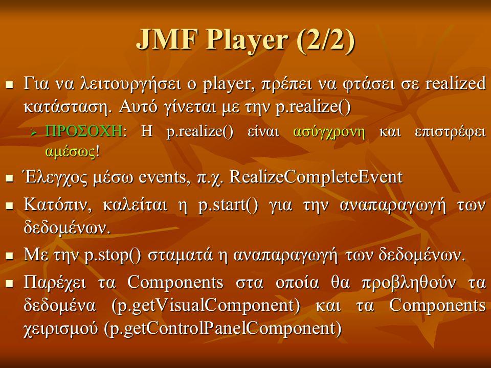 JMF Player (2/2) Για να λειτουργήσει ο player, πρέπει να φτάσει σε realized κατάσταση.
