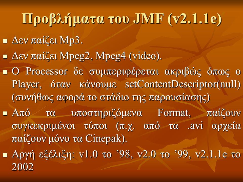 Προβλήματα του JMF (v2.1.1e) Δεν παίζει Mp3. Δεν παίζει Mp3.