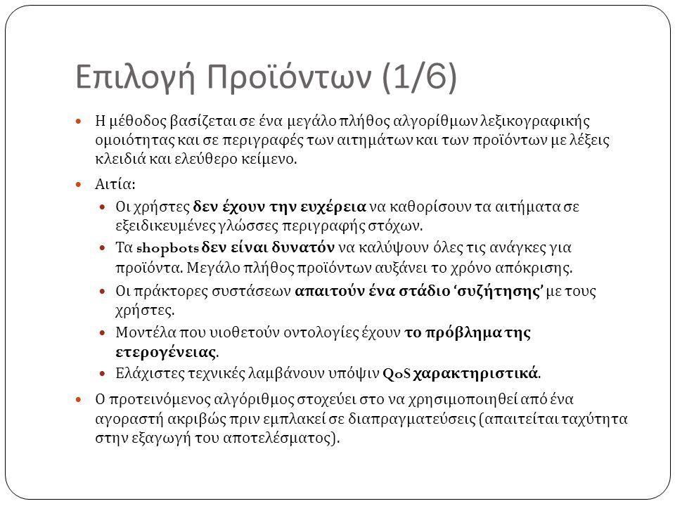 Επιλογή Προϊόντων (1/6) Η μέθοδος βασίζεται σε ένα μεγάλο πλήθος αλγορίθμων λεξικογραφικής ομοιότητας και σε περιγραφές των αιτημάτων και των προϊόντω