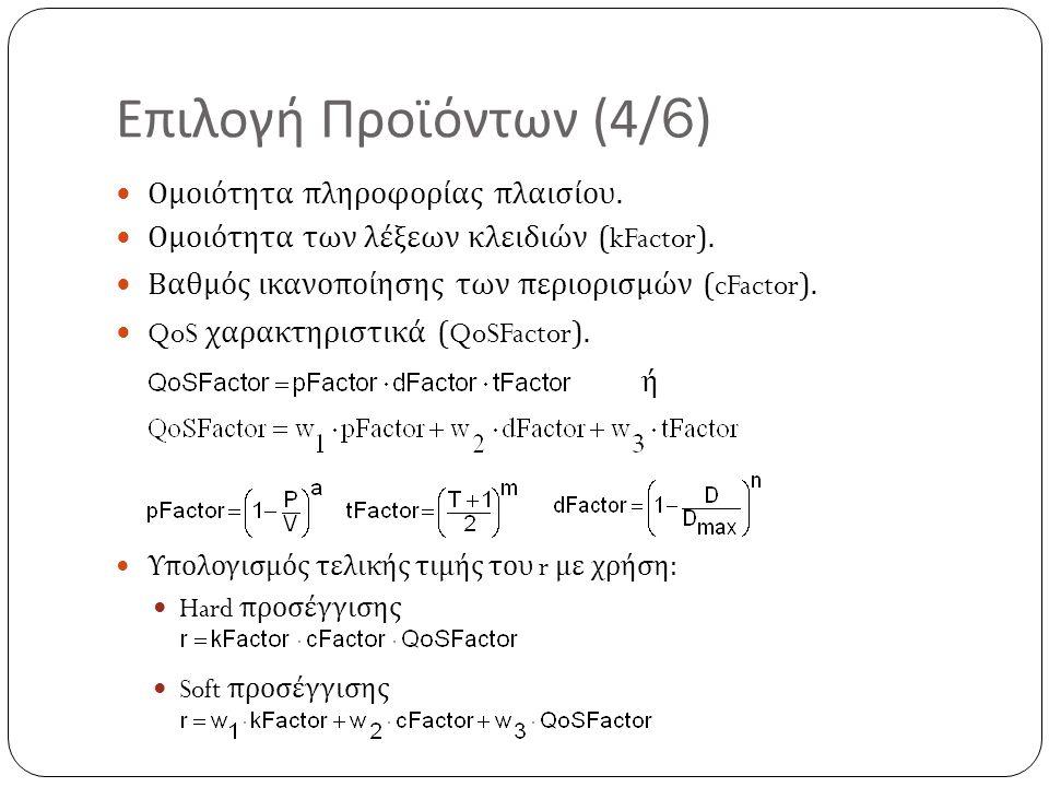 Επιλογή Προϊόντων (4/6) Ομοιότητα πληροφορίας πλαισίου. Ομοιότητα των λέξεων κλειδιών (kFactor). Βαθμός ικανοποίησης των περιορισμών (cFactor). QoS χα