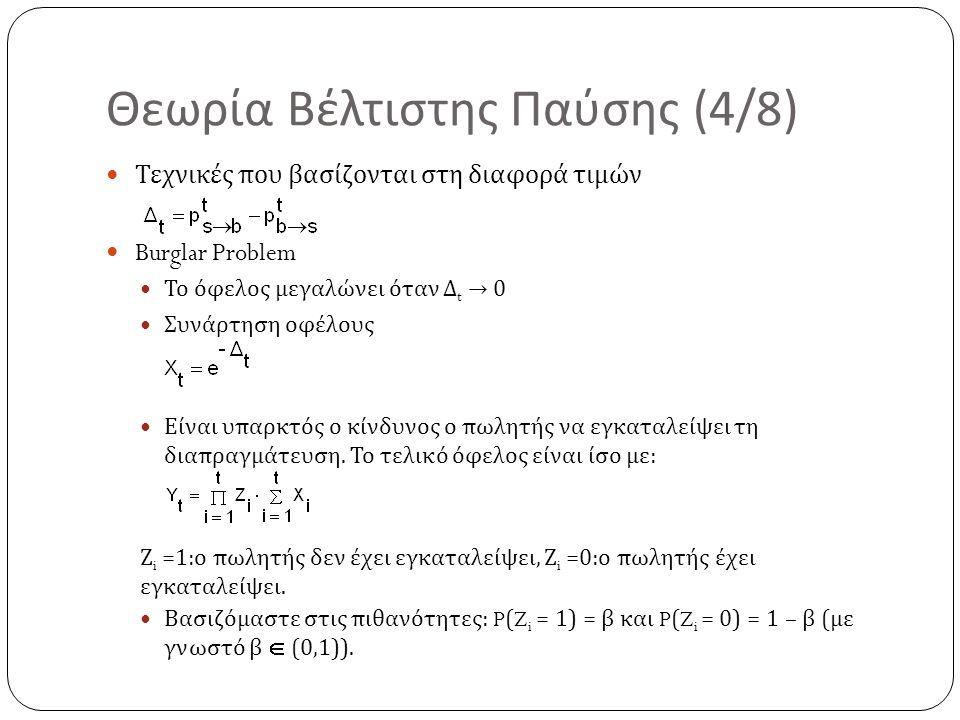 Θεωρία Βέλτιστης Παύσης (4/8) Τεχνικές που βασίζονται στη διαφορά τιμών Burglar Problem Το όφελος μεγαλώνει όταν Δ t → 0 Συνάρτηση οφέλους Είναι υπαρκ
