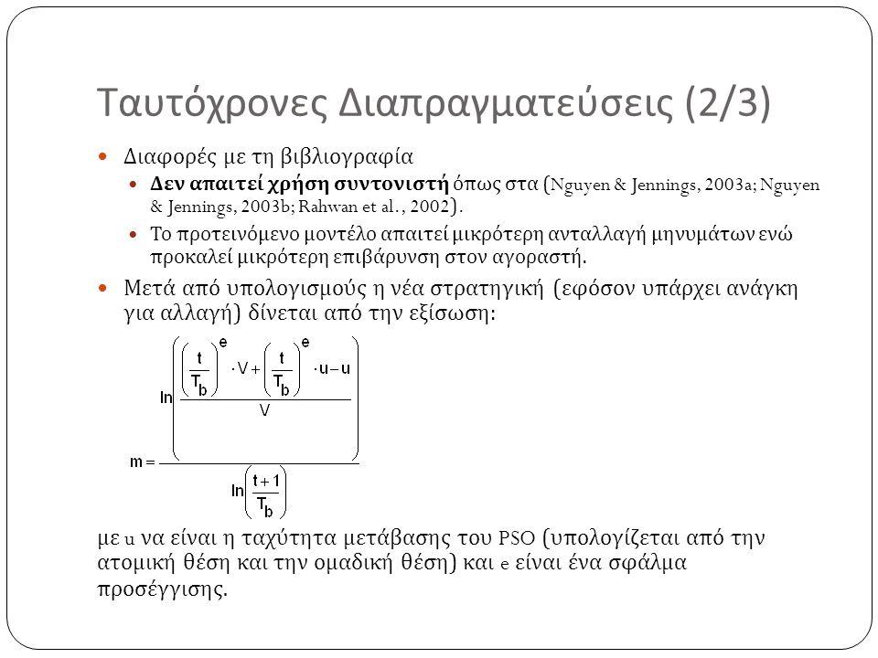 Ταυτόχρονες Διαπραγματεύσεις (2/3) Διαφορές με τη βιβλιογραφία Δεν απαιτεί χρήση συντονιστή όπως στα (Nguyen & Jennings, 2003a; Nguyen & Jennings, 200