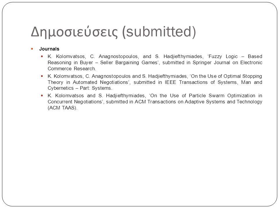 Δημοσιεύσεις (submitted) Journals K. Kolomvatsos, C. Anagnostopoulos, and S. Hadjiefthymiades, 'Fuzzy Logic – Based Reasoning in Buyer – Seller Bargai