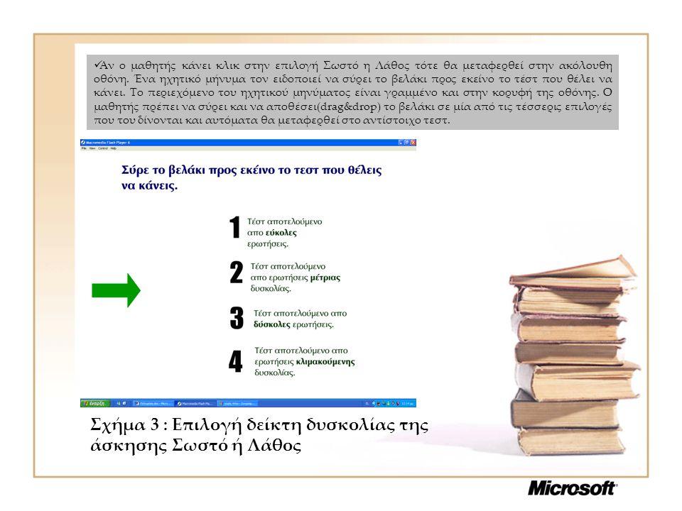 Σχήμα 3 : Επιλογή δείκτη δυσκολίας της άσκησης Σωστό ή Λάθος Αν ο μαθητής κάνει κλικ στην επιλογή Σωστό η Λάθος τότε θα μεταφερθεί στην ακόλουθη οθόνη.