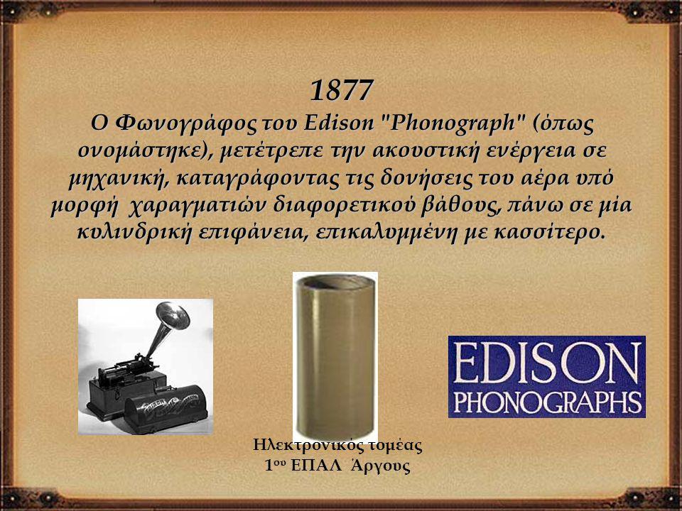 1877 Ο Φωνογράφος του Edison